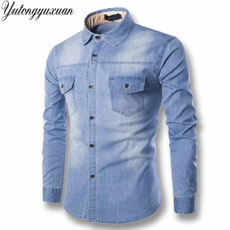 2017 однотонное регулярные продажи yutongyuxuan свет джинсовая рубашка Для мужчин 100% хлопок толщиной мужской с длинным рукавом прохладно брендовая одежда M-6XL