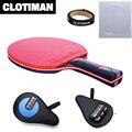 De fibra de carbono de raqueta de tenis de mesa 7 capas de mango largo mango corto horizontal agarre de tenis de mesa paleta de hoja de goma