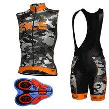 2018 ALE New Team Cycling Jersey Sleeveless Vest set Breathable Roupa Ciclismo Bike Clothing Bib Shorts Gel Pad Sportwear K23