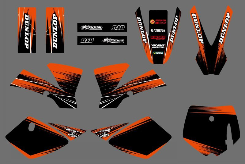 0539 (black&orange) GRAPHICS <font><b>DECALS</b></font> Sticker For <font><b>KTM</b></font> 50 SX 2002 2003 2004 2005 2006 2007 <font><b>2008</b></font> image