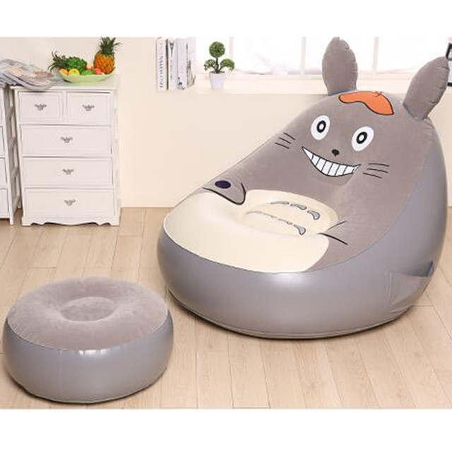 Inflatable sofa living room couch chinchillas lazy flocking plastic stools creative furniture