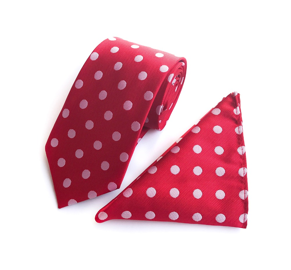 New Men/'s Polyester Woven Necktie /& Hankie Polka White Dots Red formal party