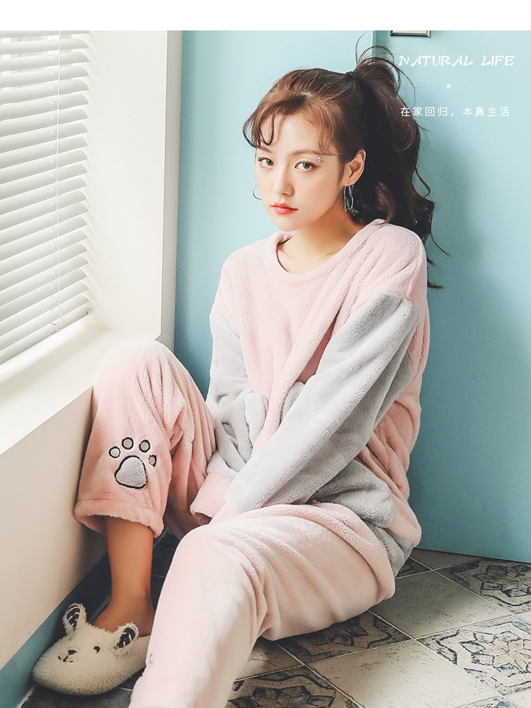 Long Sleeve Warm Flannel Pajamas Winter Women Pajama Sets Print Thicken Sleepwear Pyjamas Plus Size 3XL 4XL 5XL 85kg Nightwear 390