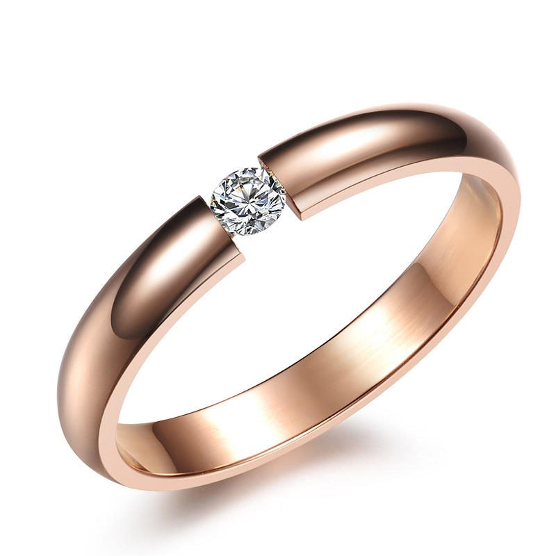 New Fashion Ring Love Rose Gold Jewelry Band Crystal Wedding Luxury Cubic Zirionia Shinning Stainless Steel
