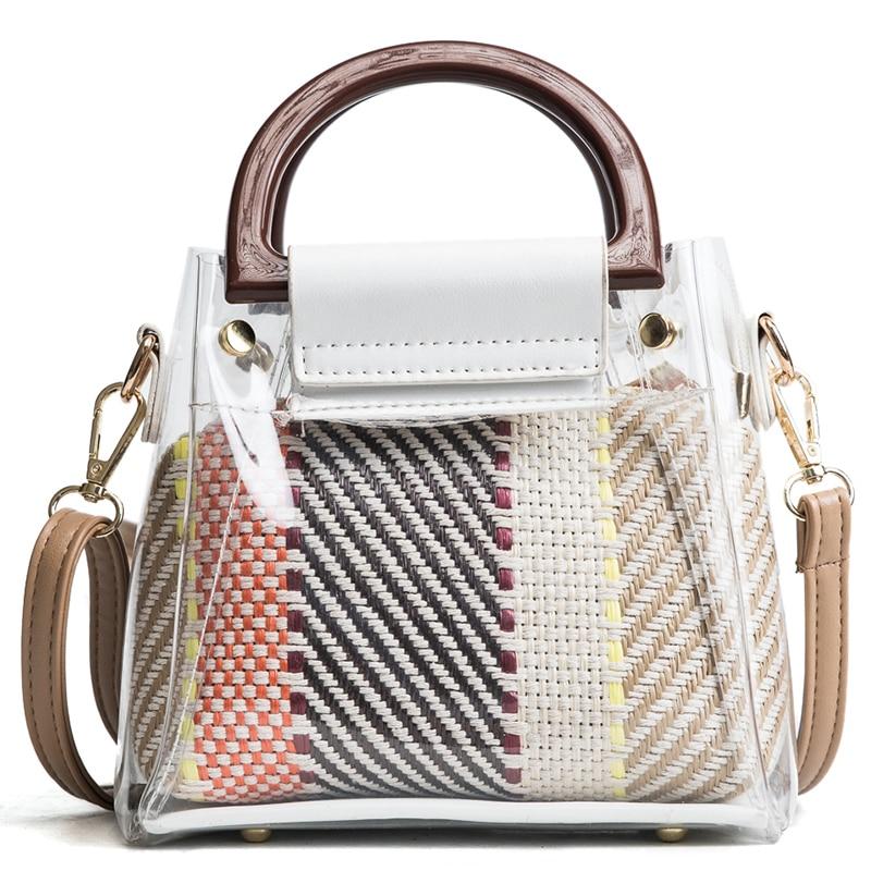 2018 famous brand transparent bags women handbag fashion jelly bag shoulder bag bucket bags female package messenger totes