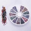 2.0 мм 12 цветов блеск советы стразы самоцветы плоские камни ногтей красоты DIY украшения колесные шикарный дизайн 5GK7