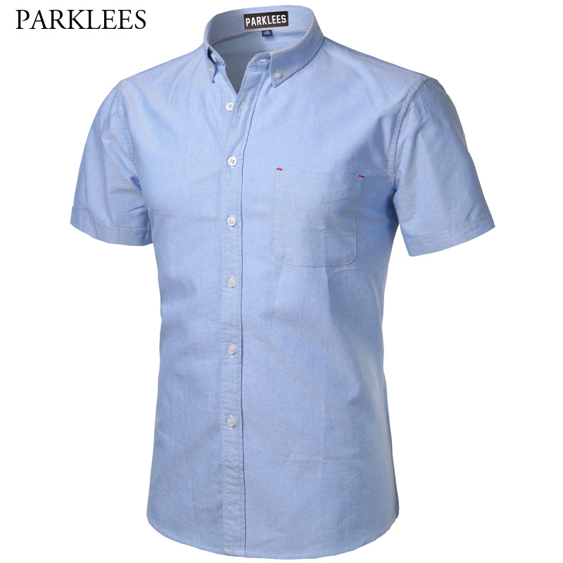 Oxford Cotton Shirt Men 2017 Summer Brand New Men Shirt Short Sleeve Slim Fit Chemise Homme Casual Button Down Mens Dress Shirts