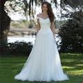 Botón Volver Encaje Vestido de novia Más El Tamaño de Tul Fuera Del Hombro Vestidos de Novia 2017 Vestido De Noiva