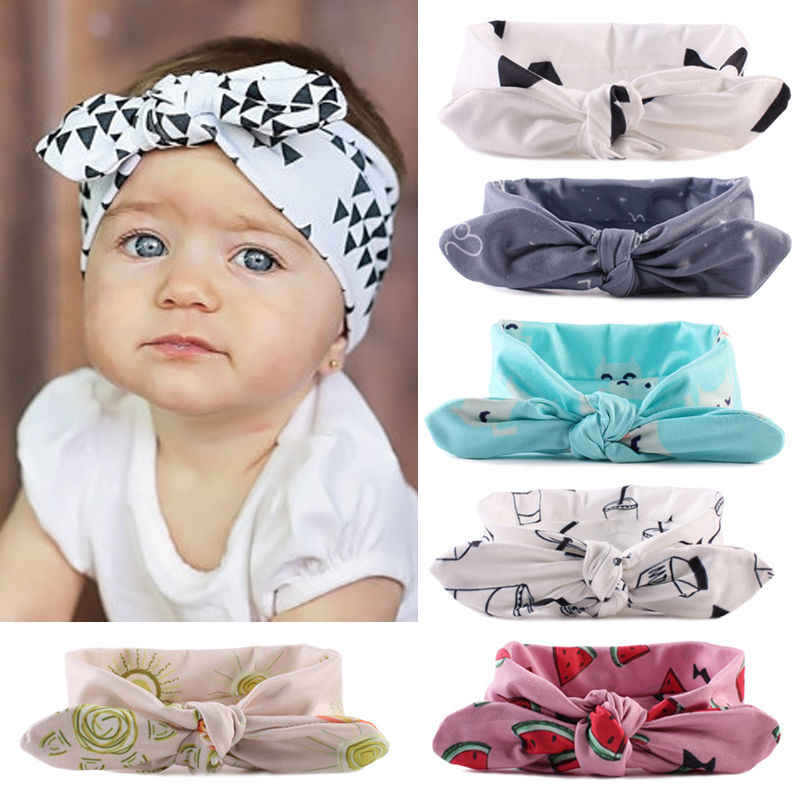 2019 Cute Baby Headband Floral Print Knot Girl Baby Hair Accessories Toddler Kids urban Rabbit Headwear New
