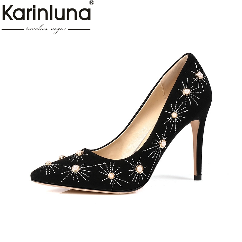 KarinLuna 2018 Spring Autumn Brand Kid Suede Beading Pumps Pointed Toe Shoes Woman Women Lady Wedding Party Shoe 2017 new fashion brand spring shoes large size crystal pointed toe kid suede thick heel women pumps party sweet office lady shoe