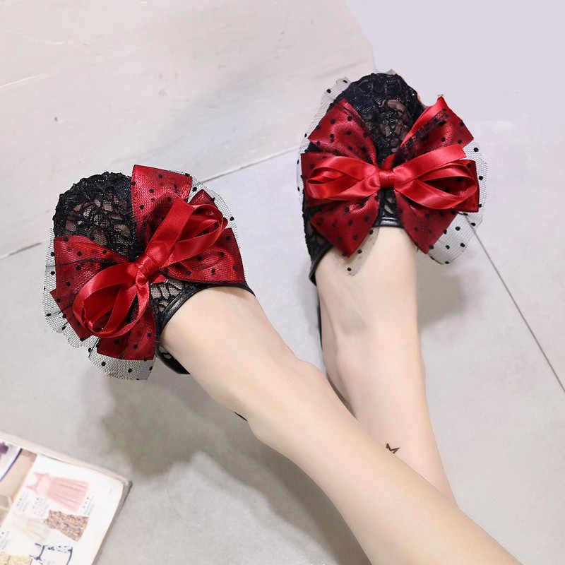Designer de borboleta-nó sandálias mulheres chinelos sapatos de verão damas pantoffels lady lace plano Slides mulas sandálias de luxo da marca