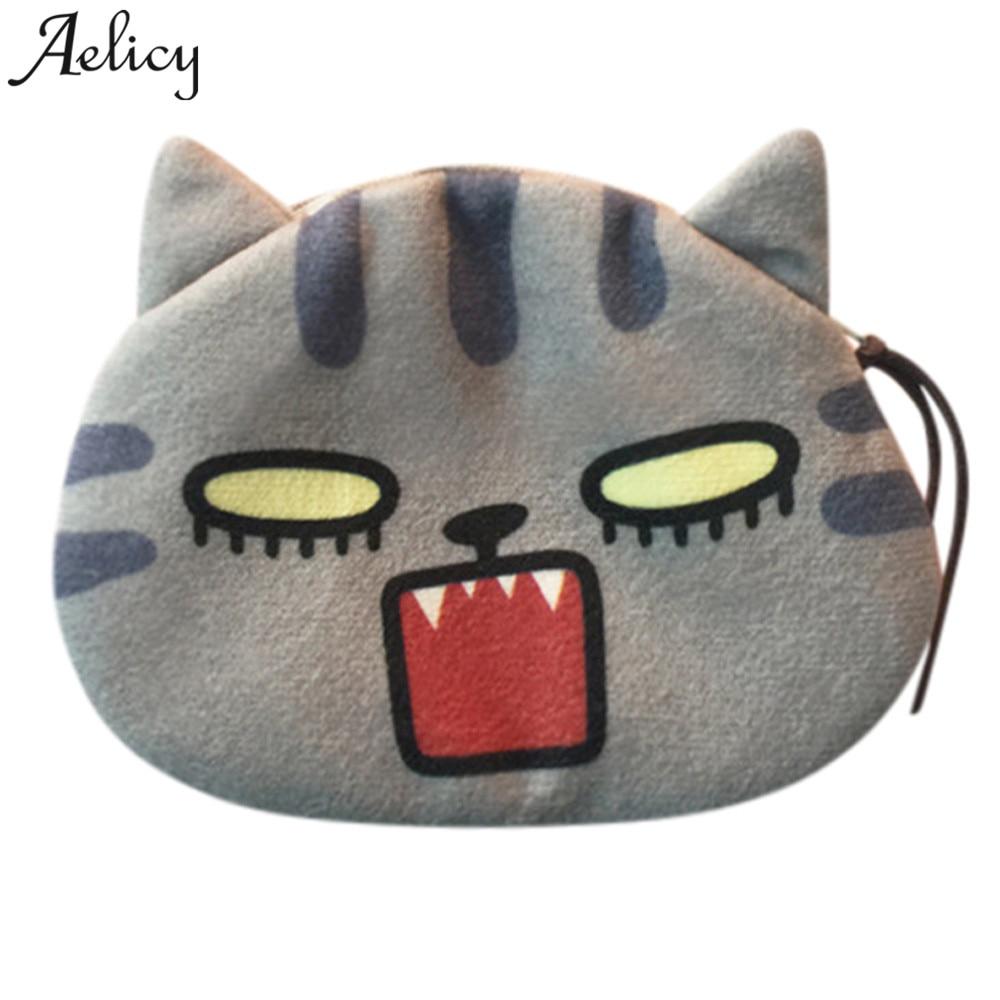 Aelicy 2018 New Design Cute Coin Purse Women Cute Print Cat Face Girl Plush Coin Purse Change Purse Bag Wallet carteira HOT SALE