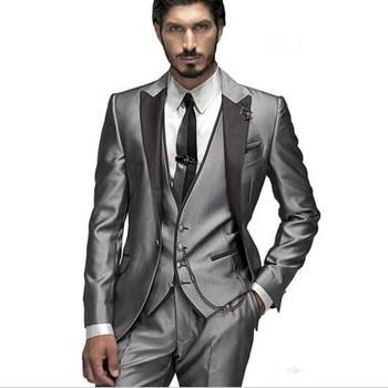 2017 Custom Made Groom Tuxedo Silver men Suit Peaked Lapel man Groomsman Men Wedding Prom Suits Bridegroom Jacket+Pant+Vest+Tie