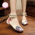 Peking Opera Embroidery Women Shoes Chinese Style Casual Face Clouds Flats 3Colors Plus 41 Dance Cloth Shoes Women