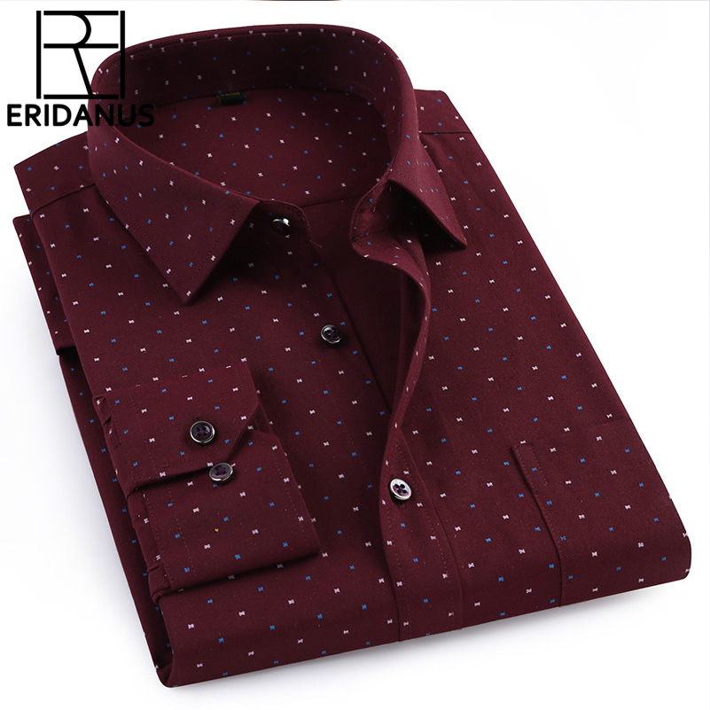 2018 New Brand Men Shirt Spring Fashion Full Mens Oxford Polka Dot Button Down Collar Slim Fit Casual Shirts Big Size M705
