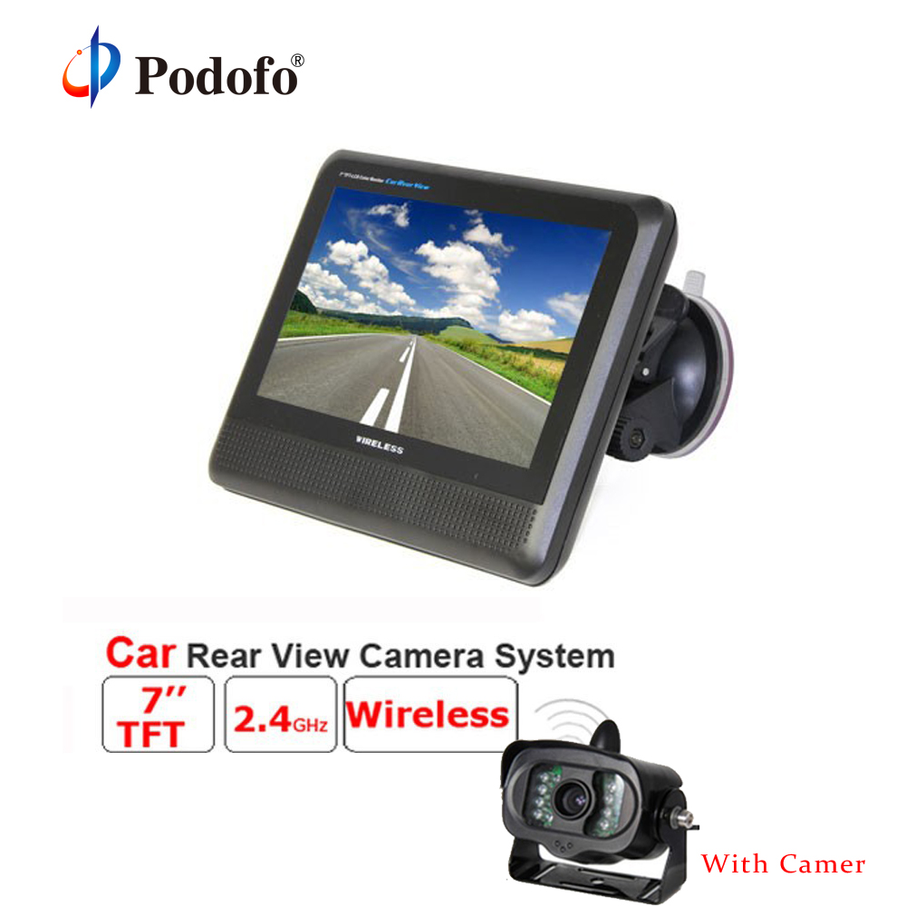 Podofo Wireless Car Monitor 2.4GHz 7 Inch TFT LCD Rear View System with Waterproof 15 IR Night Vision Parking Reversing Camera цены онлайн