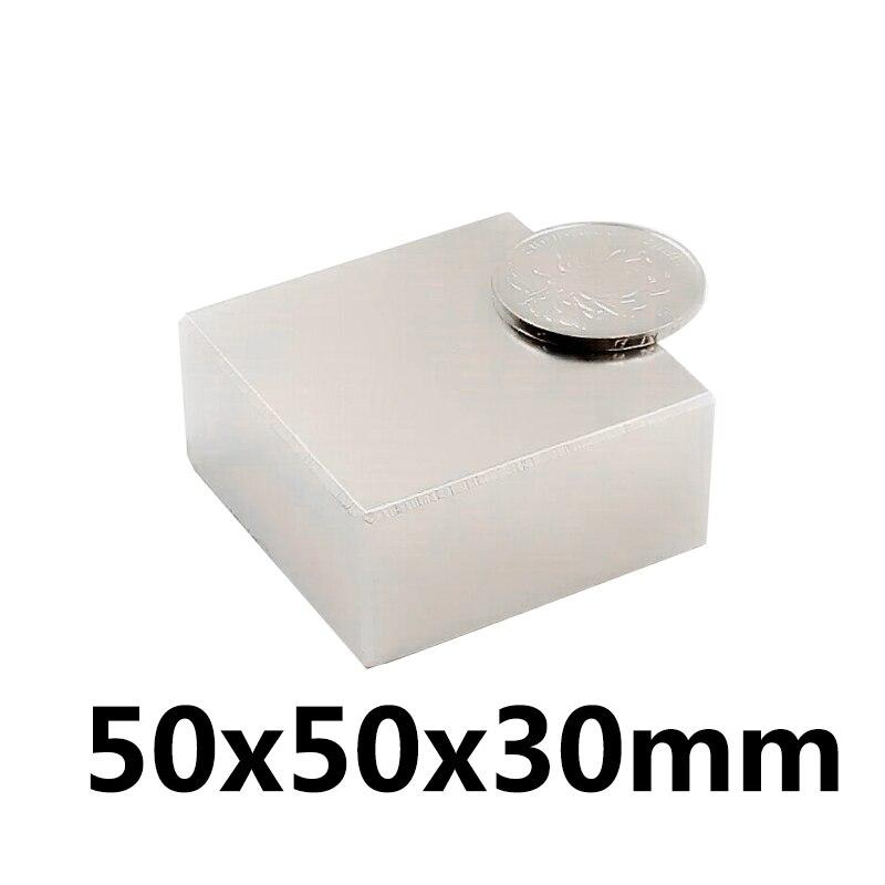 1 Pcs 50x50x30mm Néodyme Aimant Bloc N35 Permanent Super Fort Puissant Petit Magnétique Aimants Carré