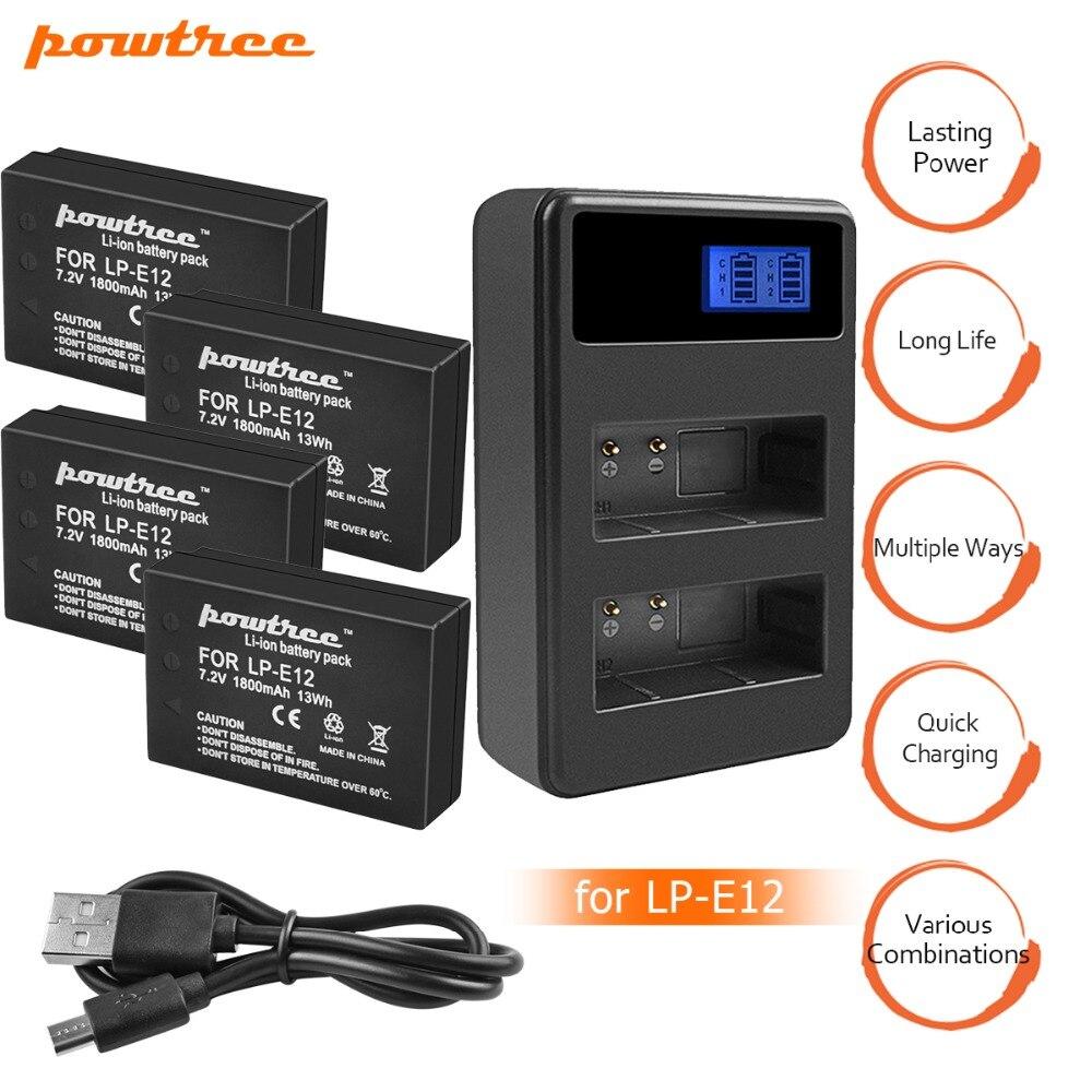 4X7.2 v 1800 mah LP-E12 LPE12 LP E12 Batterie Batterie AKKU + LCD USB Chargeur pour Canon EOS m10 M100 M2 100D Baiser X7 Rebelles SL1 L15