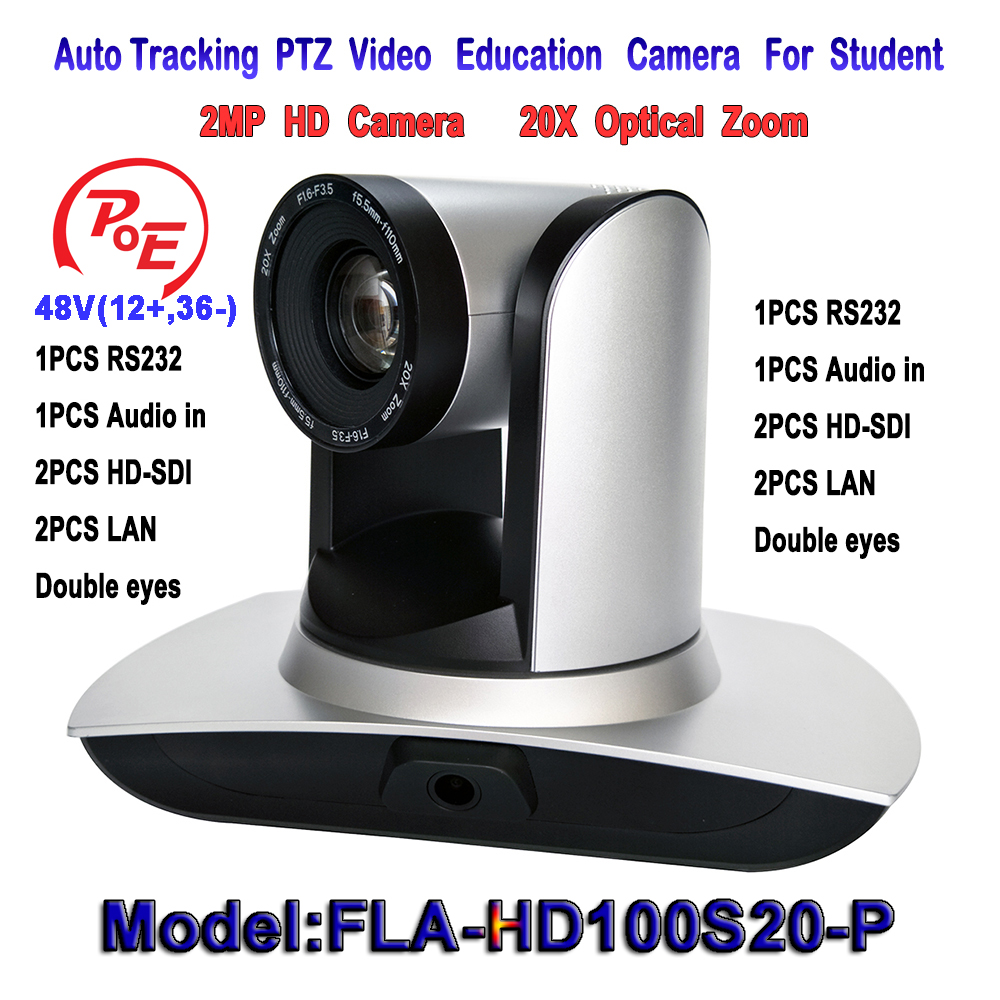 POE 2MP 20X-SDI PTZ IP Streaming Conference Media Camera with Simultaneous Audio Input/RS232 and 3G-SDI Outputs - Silver Color 2mp 1080p60 50 ptz ip streaming onvif poe camera visca pelco 20x optical zoom tripod with simultaneous hdmi and 3g sdi outputs