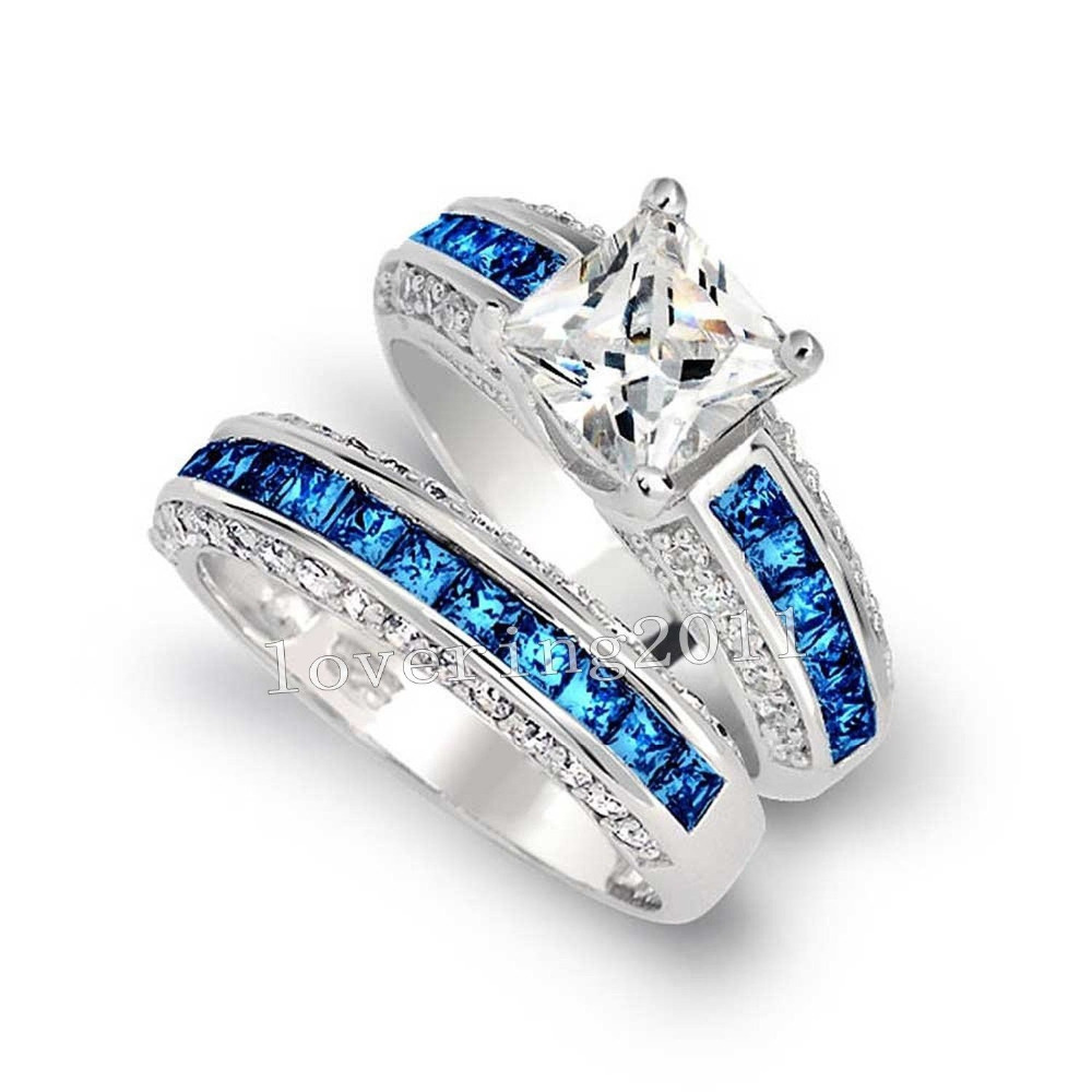 Luxury Jewelry Wholesale 10kt White Gold Filled Princess Cut Blue Aaa Cz Zirdonia Simulated Stones Wedding Womnen Couple Ringin Bands From: Cheap Blue Wedding Rings At Reisefeber.org