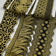 5Yards many types Velvet Black and white African Embroidery lace trim fabric for Women Dress