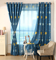New Arrival Cartoon Blue Planethe Cloth Curtain Childrens Room Curtain Boys And Girls Bedroom Curtains Free