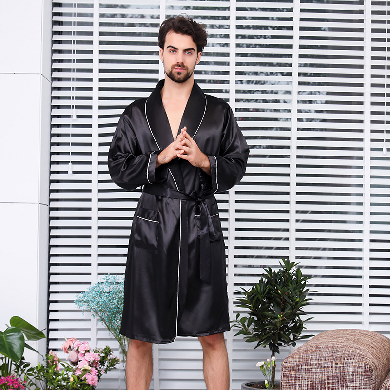 Men's Single Piece Silk Robe Summer Thin Long-sleeved Pajamas XL Black Bathrobe Men Robes Bath  Silk Robe Men Silk Robe For Men