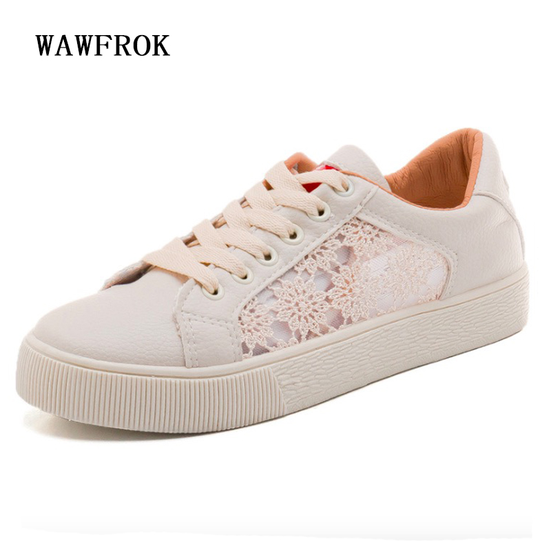 Women Casual Shoes 2018 Summer Mesh+Leather Shoes Woman Flats Lace-Up Fashion Lace-Up Breathable Women Sneakers pinsen fashion women shoes summer breathable lace up casual shoes big size 35 42 light comfort light weight air mesh women flats