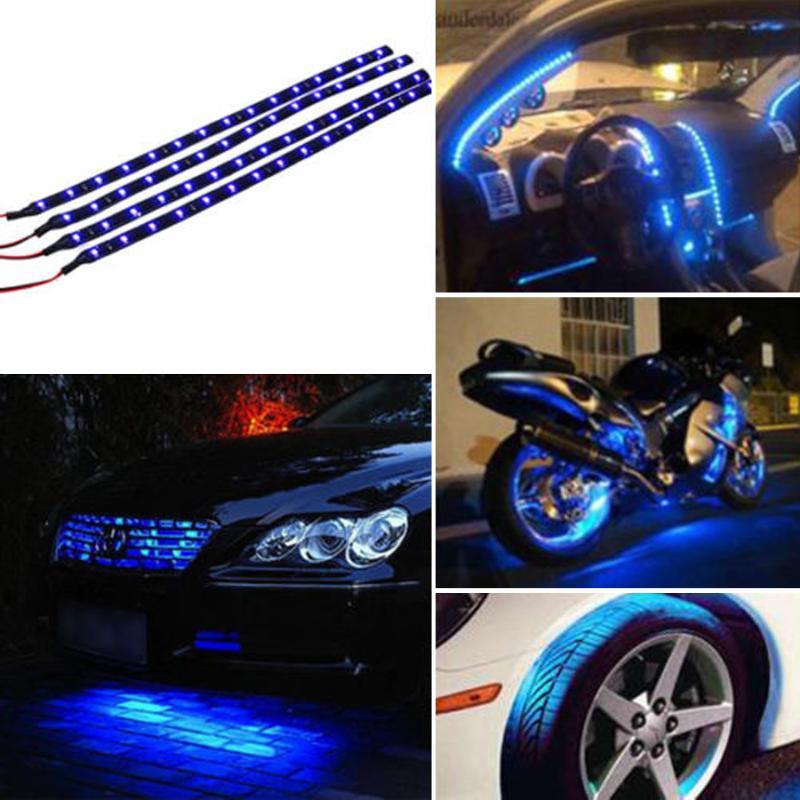 4PCS 12V Car LED Bar Lights Car Motorcycle Strip Light Truck Flexible Strip Light Waterproof Blue Light Color Outdoor And Indoor
