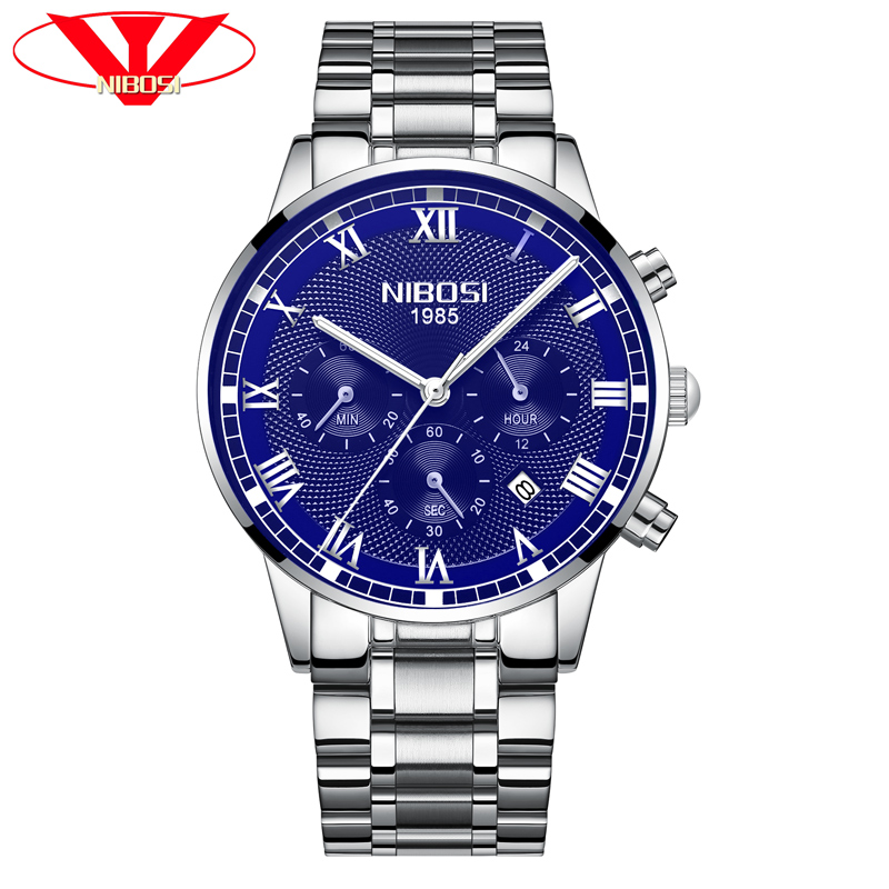 Mens Watches Top Brand Luxury Automatic Mens Watches Top Brand Luxury Leather Men Luxury Quartz Watch Mens Watches Blue NIBOSI mce sports mens watches top brand luxury genuine leather automatic mechanical men watch classic male clocks high quality watch