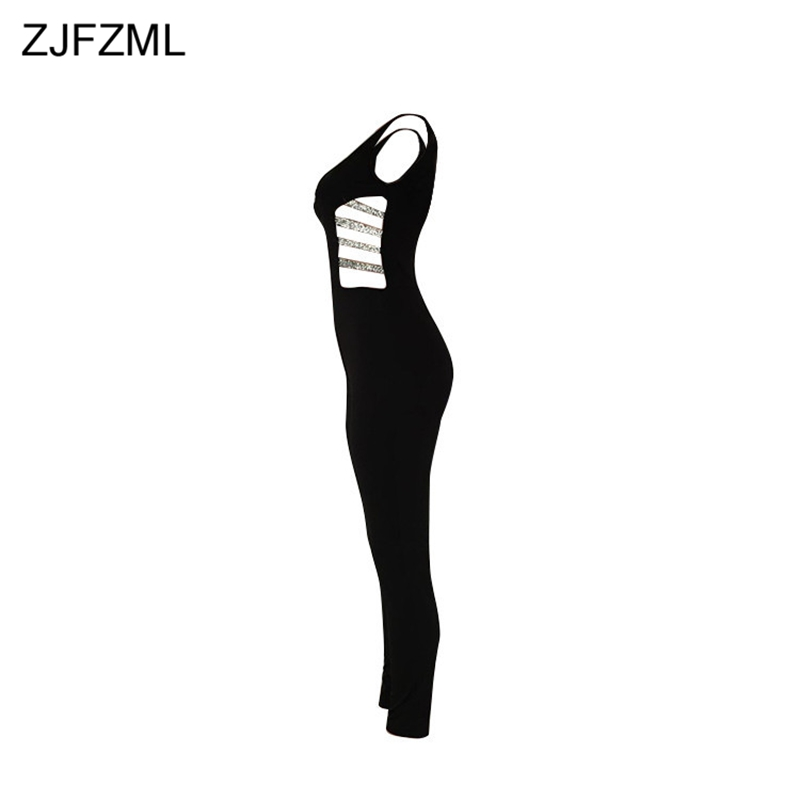 ZJFZML Hollow Out Sexy Skinny Jumpsuit Women Black Waist Band Cut Out Long Romper Summer Deep V-Neck Sleeveless Party Bodysuit