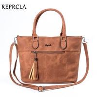 REPRCLA Brand Vintage Tassel Handbags Women Bag Designer Double Zipper Shoulder Bags PU Leather Crossbody Top