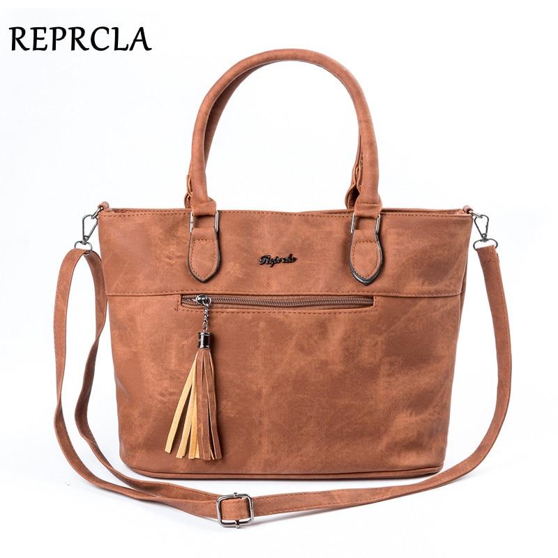 Reprcla бренд Винтаж кисточкой Сумки Для женщин сумка дизайнер двойная молния Сумки на плечо из искусственной кожи Crossbody Топ-ручка Сумки Bolsas