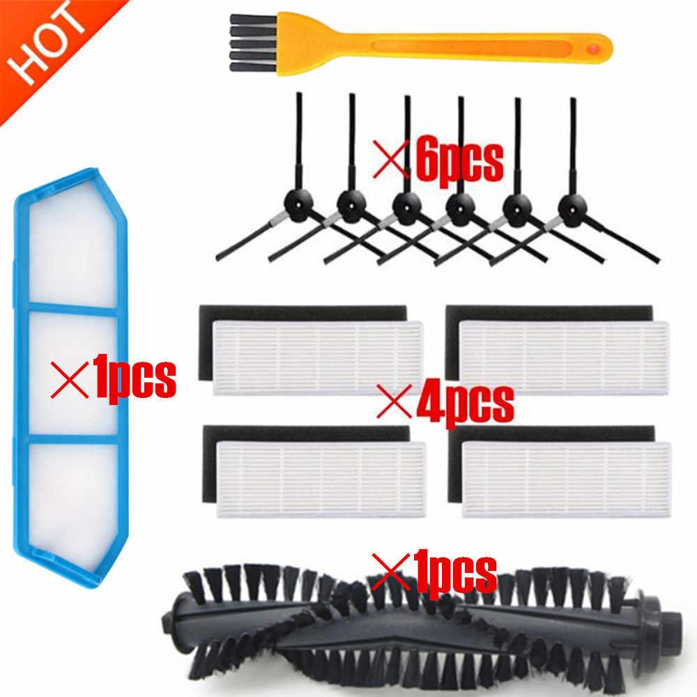 12pc Neue 1 * Wichtigsten Pinsel + Filter Net + 4 * HEPA-Filter + 4 * Schwamm + 6 * seite Pinsel für ILIFE a4s Roboter Staubsauger Teile chuwi ilife a4s