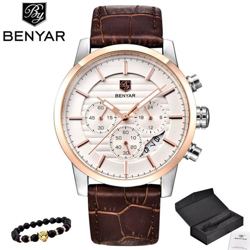4938d27785bb4 BENYAR reloj para hombre reloj de cuarzo de marca top lujosa para hombre  reloj deportivo elegante analógico con correa de cuero para hombre reloj de  pulsera ...