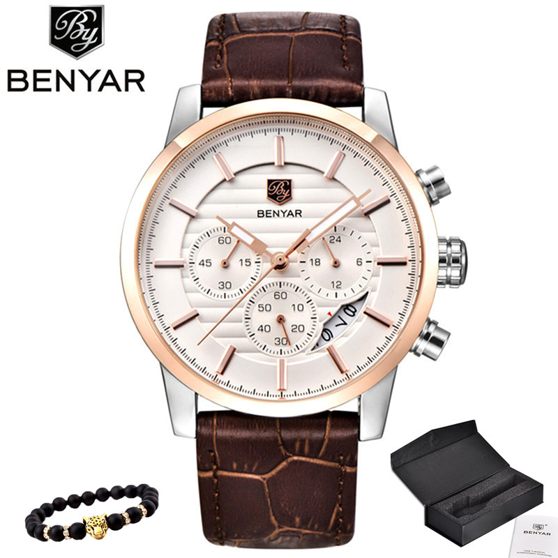 BENYAR Watch Menn Top Luxury Brand Quartz Sport Klokker Mens Fashion Analog Leather Mann Vanntett Armbåndsur Reloj Hombre 2018