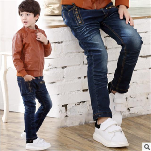 2017 Moda Infantil Jeans Meninos Calças Jeans Primavera Lavagem Luz Jeans Meninos para Meninos Regulares Elástico Da Cintura das calças de Brim das Crianças P257
