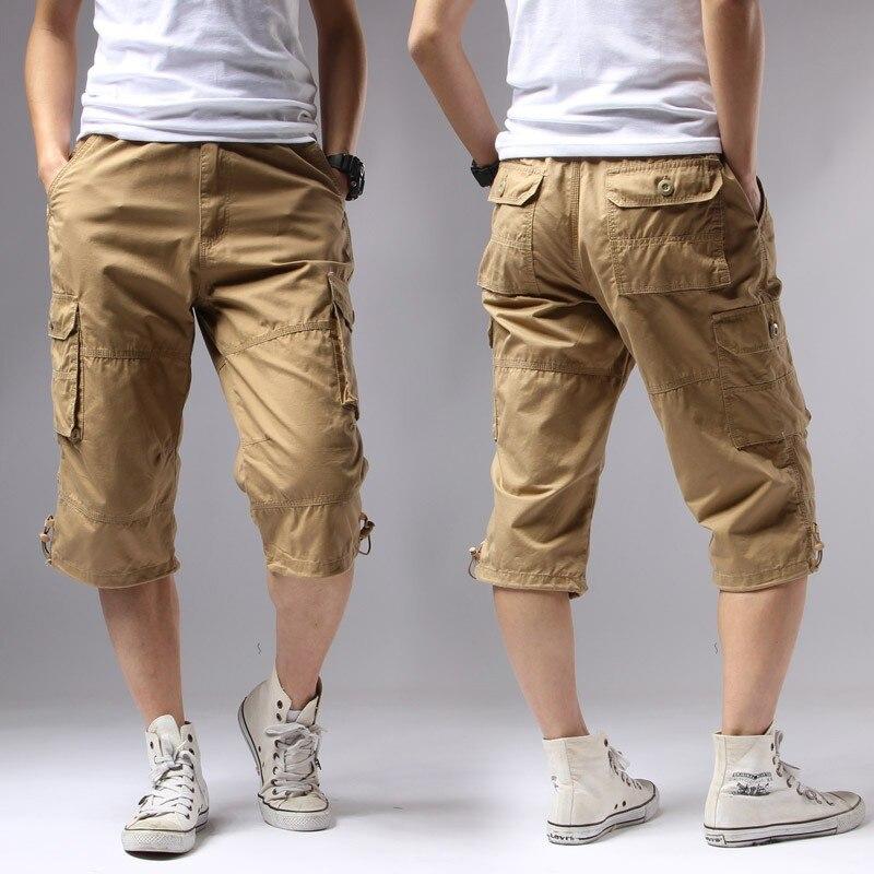 Casual Shorts Men Summer 2019 Cotton Knee Length Men's Shorts Army Green Military Cargo Shorts Brand Clothing