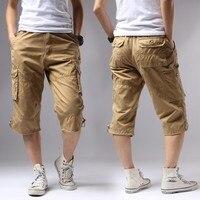 Casual Shorts Men Summer 2017 Cotton Knee Length Men S Shorts Army Green Military Cargo Shorts