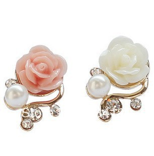 Hot New Fashion Gold Color Cute Sweet Rose Shaped Artificial Simulated Pearl And Crystal Stud Earrings In From Jewelry Accessories On