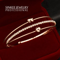 Bracelet Set Women Sinkee Free Shipping 2016 New Fashion CZ Stone Lucky Star Bangle Rose Gold Plated Sl257