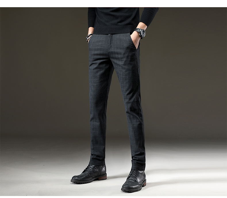 HTB1y5M0JVGWBuNjy0Fbq6z4sXXab jantour Brand Pants Men Casual Elastic Long Trousers Male Cotton lattice straight gray Work Pant men's autumn Large size 28-38