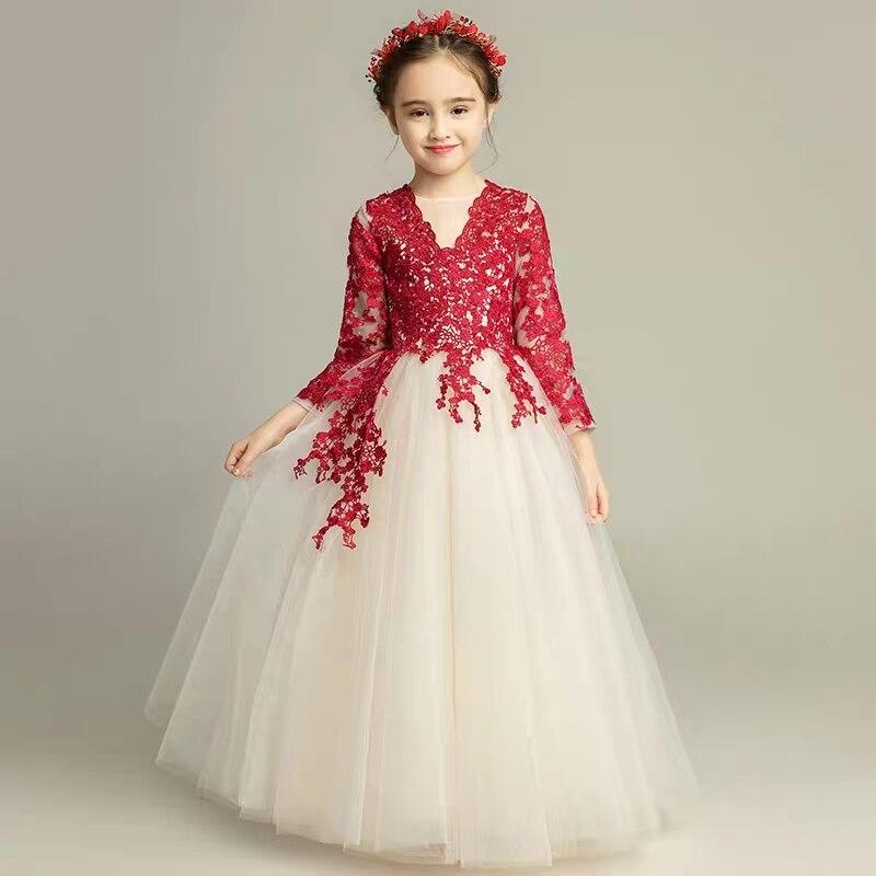 2018 осень зима для девочек элегантные кружева на день рождения Свадебная вечеринка платье для детей и подростков Модель Показать фортепиано