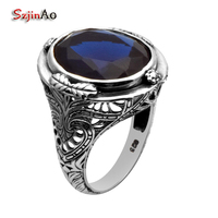Custom Processing Wholesale And Retail Of Luxury And Generous Sapphire Ancient Silver Rings