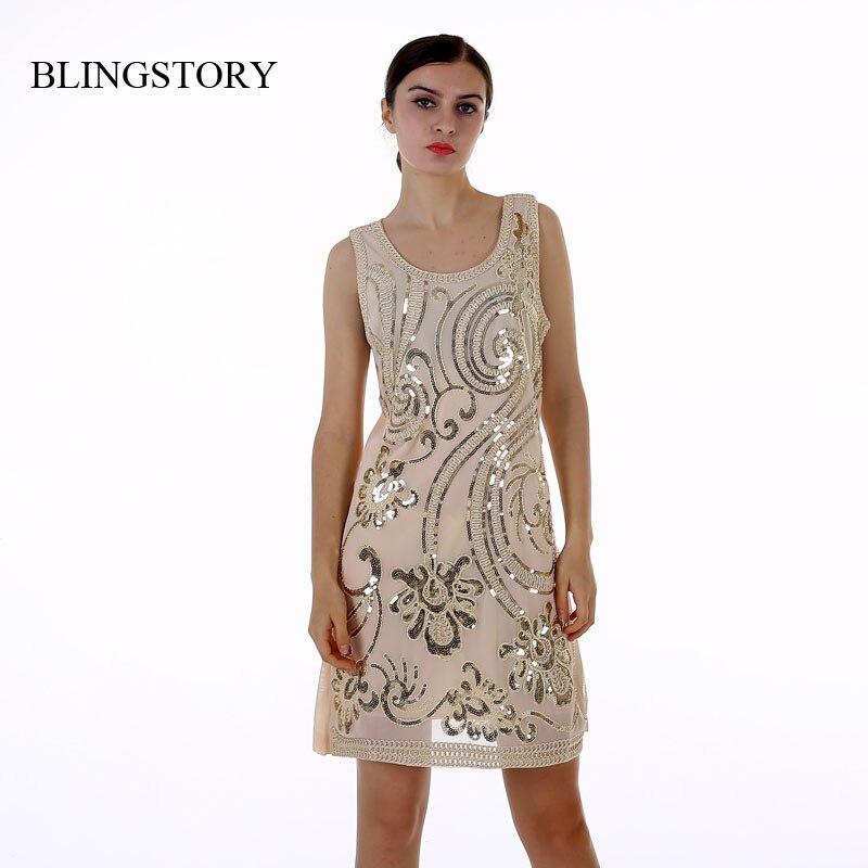 BLINGSTORY Nové Módní šaty Sequined Sexy Slim Package Hip Bez rukávů Sequin Šaty KR3077-1