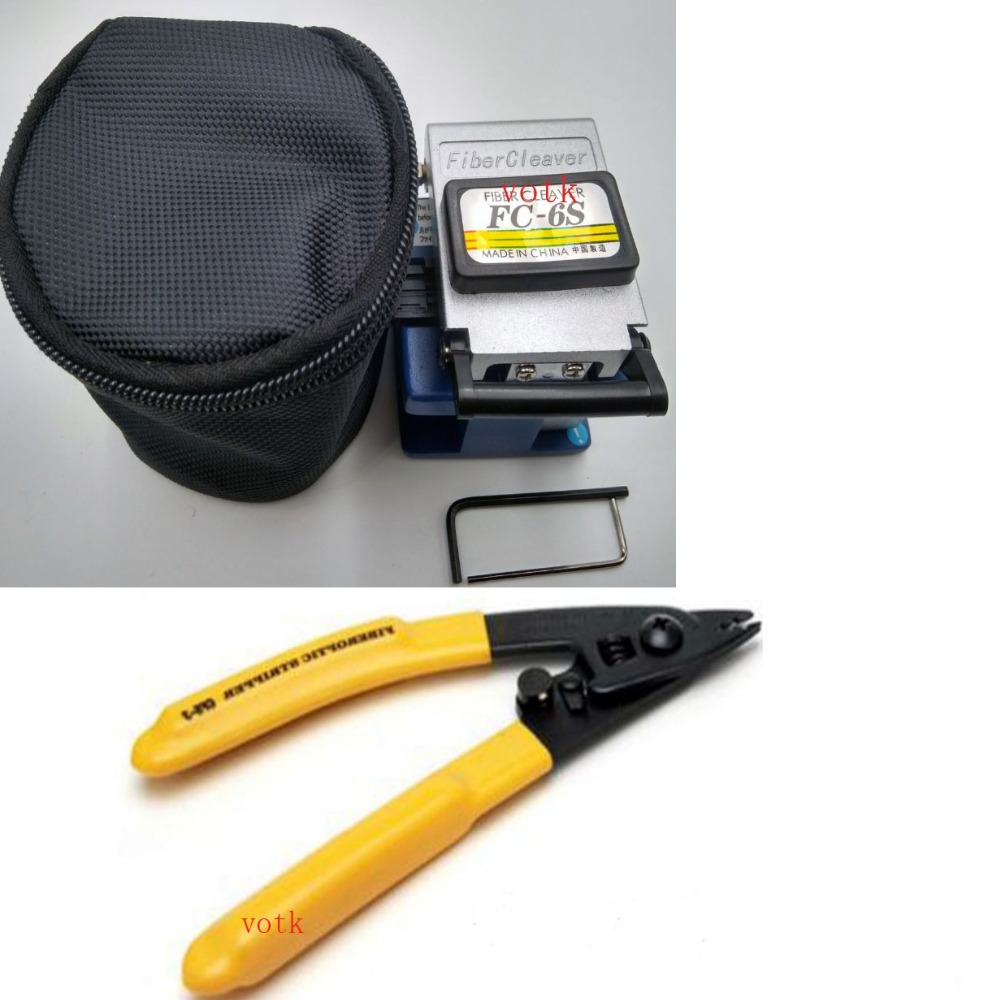 Optical Fiber Cleaver with waste box , FTTH fiber tool kit with Miller pliers cable length stripper