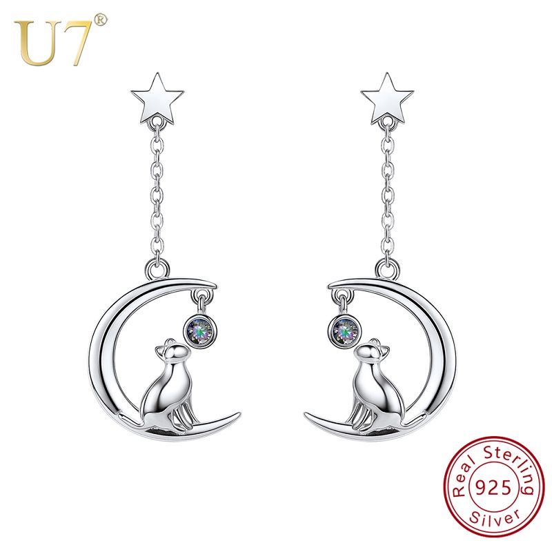 U7 925 Sterling Silver Earrings Lovely Cat Sitting on the Moon Star Drop Earrings Bridesmaid Gift For Women Jewelry Wholesale blank легкое пальто