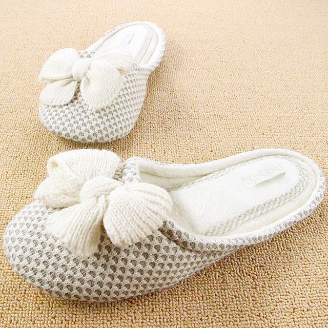 Winter Mujer Shoes Antiskid Zapatos Cute Sewing Plush Pantuflas Pantofole Donna Bow Chinelo Knit Interior Bedroom