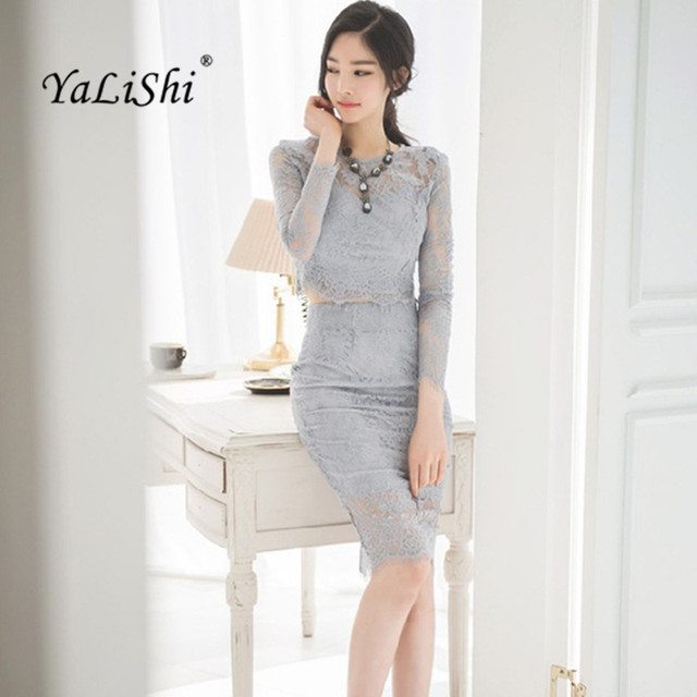 ceebb21f08 US $22.77 31% OFF|YaLiShi 2017 Autumn Women Dress Office Bandage Sexy Party  Vintage Bodycon blue Vestidos Dresses Long sleeves 2 piece Lace dress-in ...