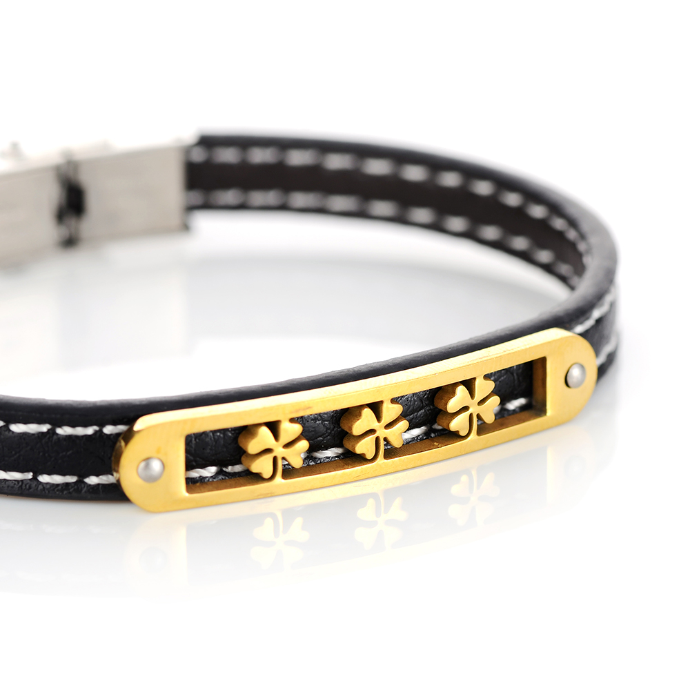 Sobuy Braided Lucky Clover Leather Bracelets Men Women Jewelry Trendy Stainless Steel Charm Bracelets Bangles